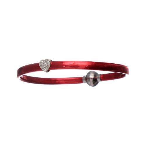 Bracciale AMEN in termoplastica rosso cuoricino zirconato argento 925 3