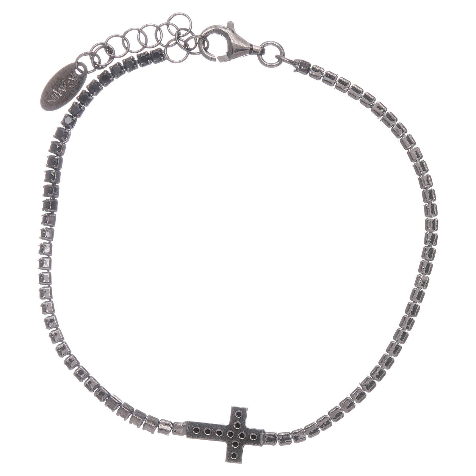 Bracciale Tennis AMEN zirconi neri e croce argento 925 brunito 4