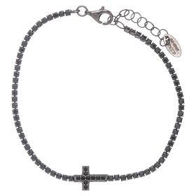 Bracciale Tennis AMEN zirconi neri e croce argento 925 brunito s1