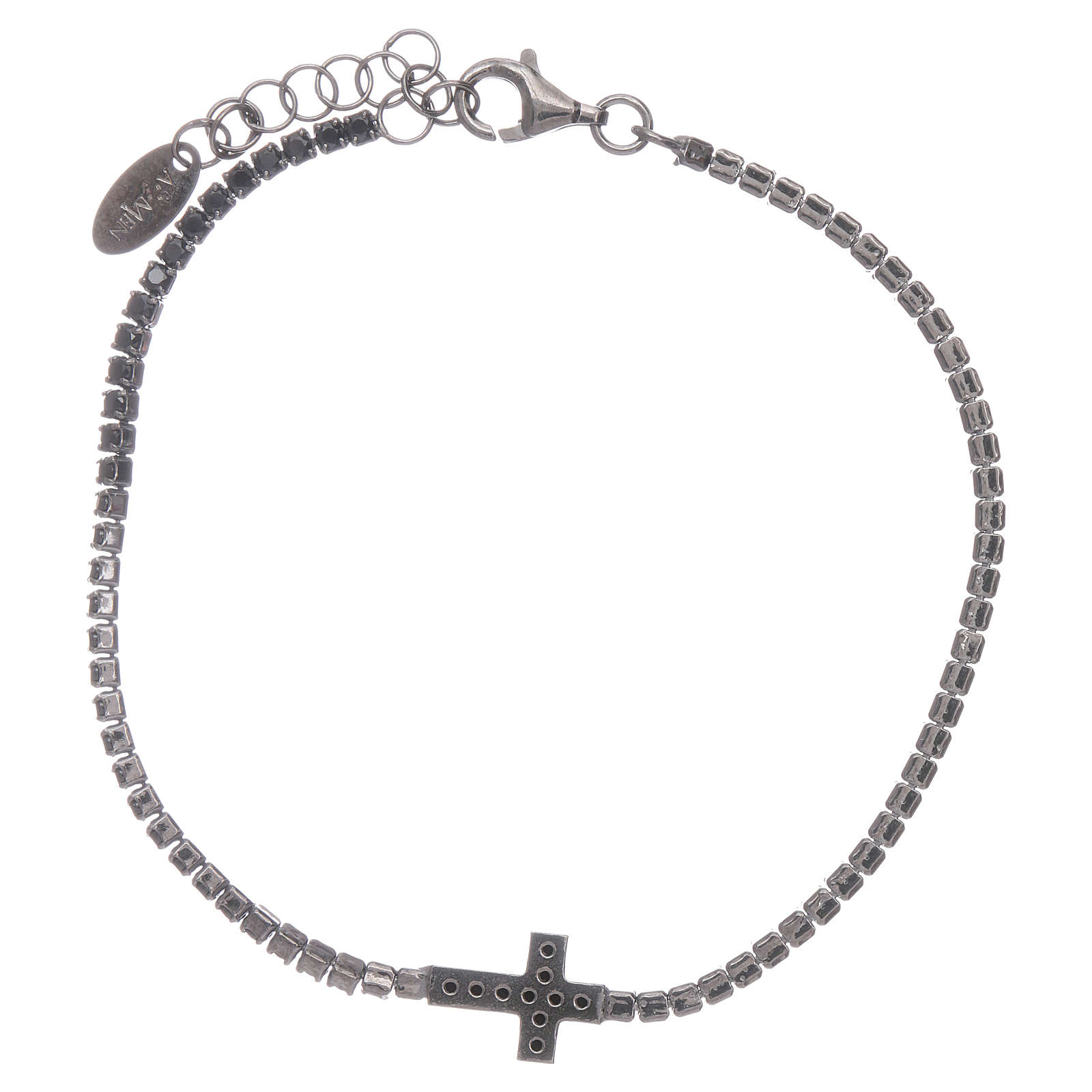 AMEN burnished 925 sterling silver tennis bracelet with black zircons  and cross 4