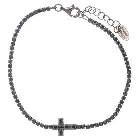 AMEN burnished 925 sterling silver tennis bracelet with black zircons  and cross s1