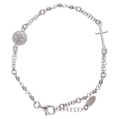 Bracciale rosario AMEN San Benedetto argento 925 rodio 1