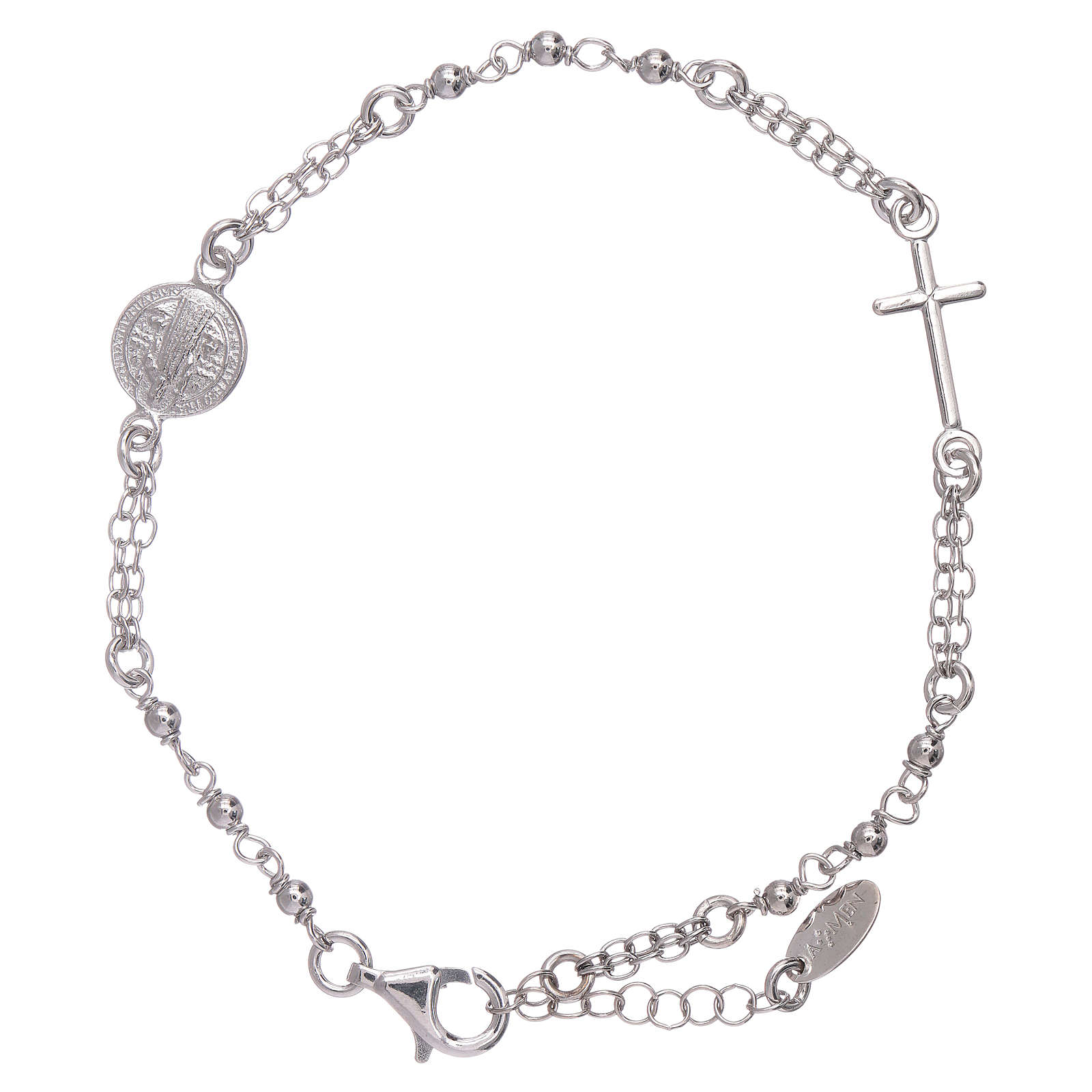 AMEN Saint Benedict rosary bracelet in 925 sterling silver finished in rhodium 4