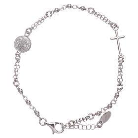 AMEN bracelets: AMEN Saint Benedict rosary bracelet in 925 sterling silver finished in rhodium