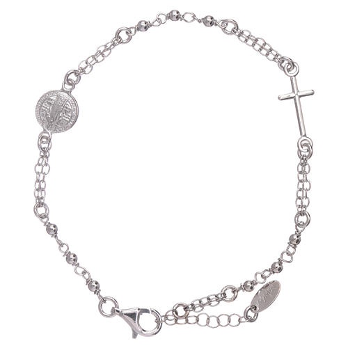 AMEN Saint Benedict rosary bracelet in 925 sterling silver finished in rhodium 1
