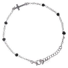 Bracciale croce zirconata AMEN e cristalli neri s2