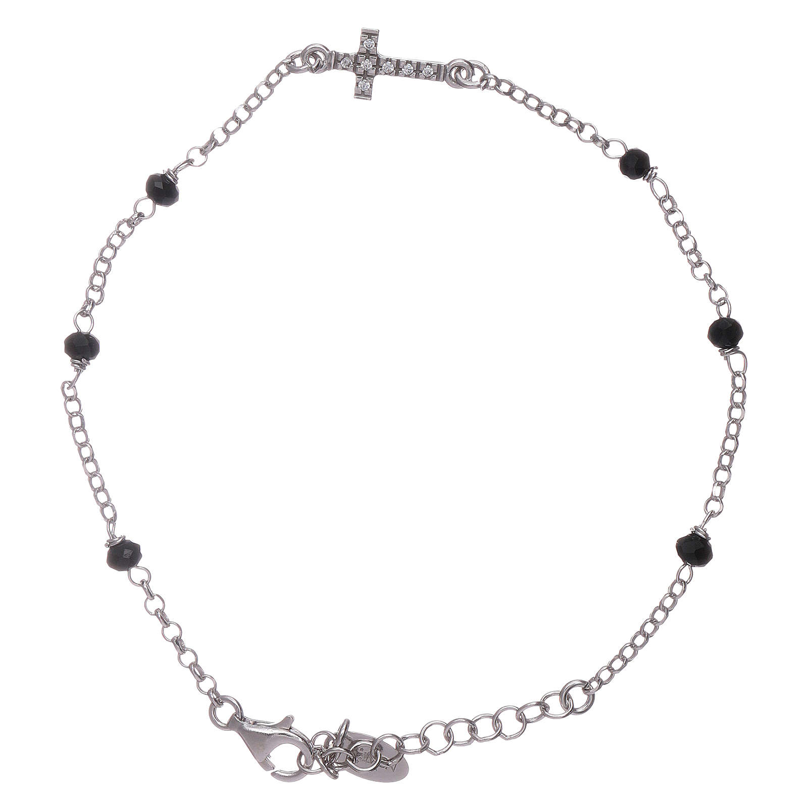 AMEN bracelet with a zirconate cross and black crystals 4