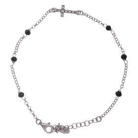AMEN bracelets: AMEN bracelet with a zirconate cross and black crystals