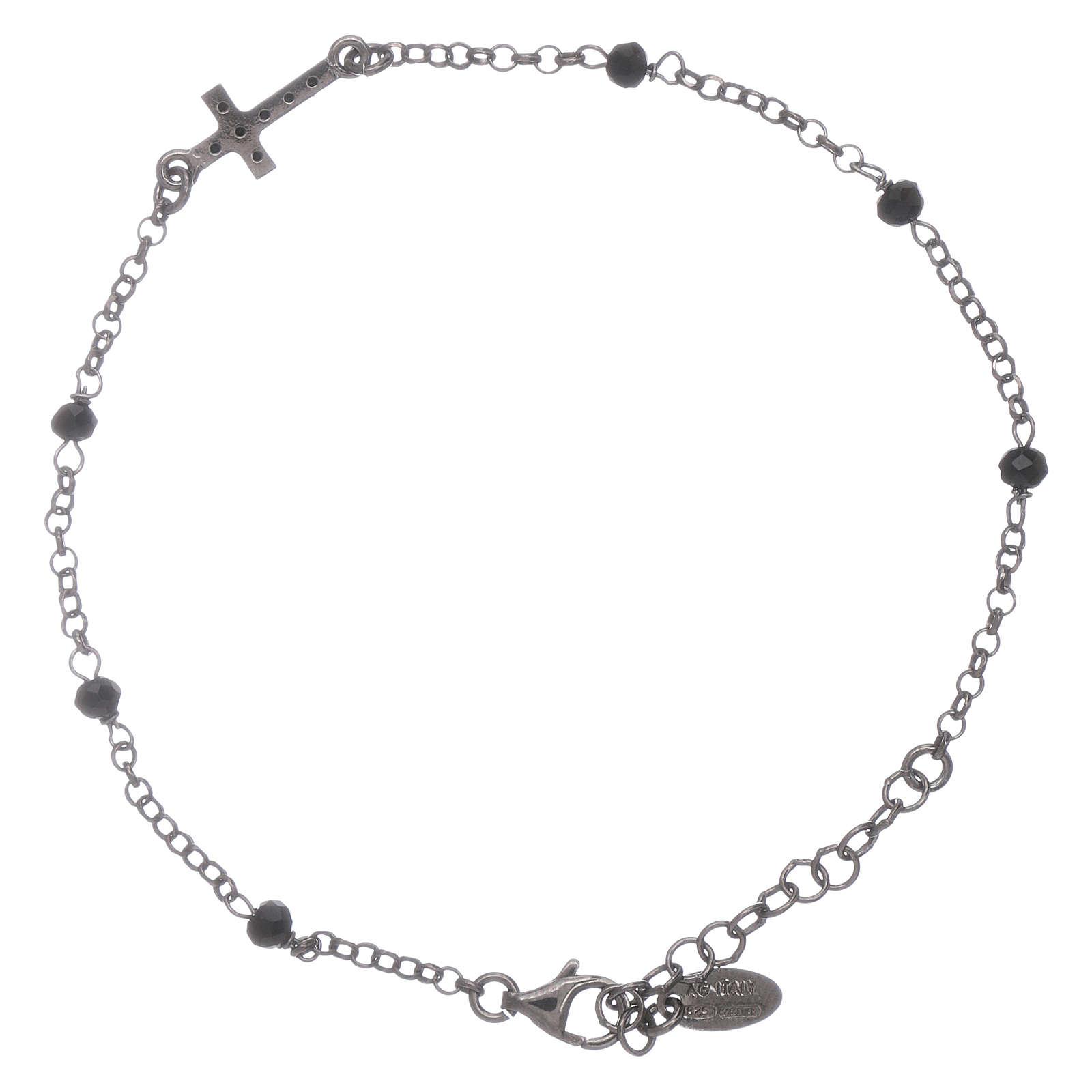 Bracciale cristalli neri AMEN arg 925 rodiato nero croce zirconata 4