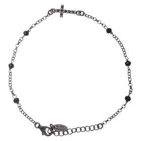 Bracciale cristalli neri AMEN arg 925 rodiato nero croce zirconata s1