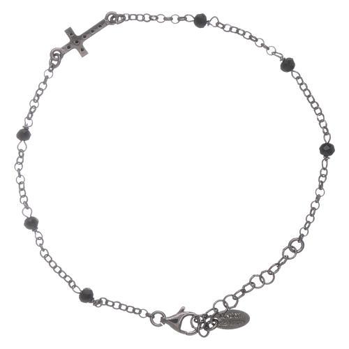Bracciale cristalli neri AMEN arg 925 rodiato nero croce zirconata 2