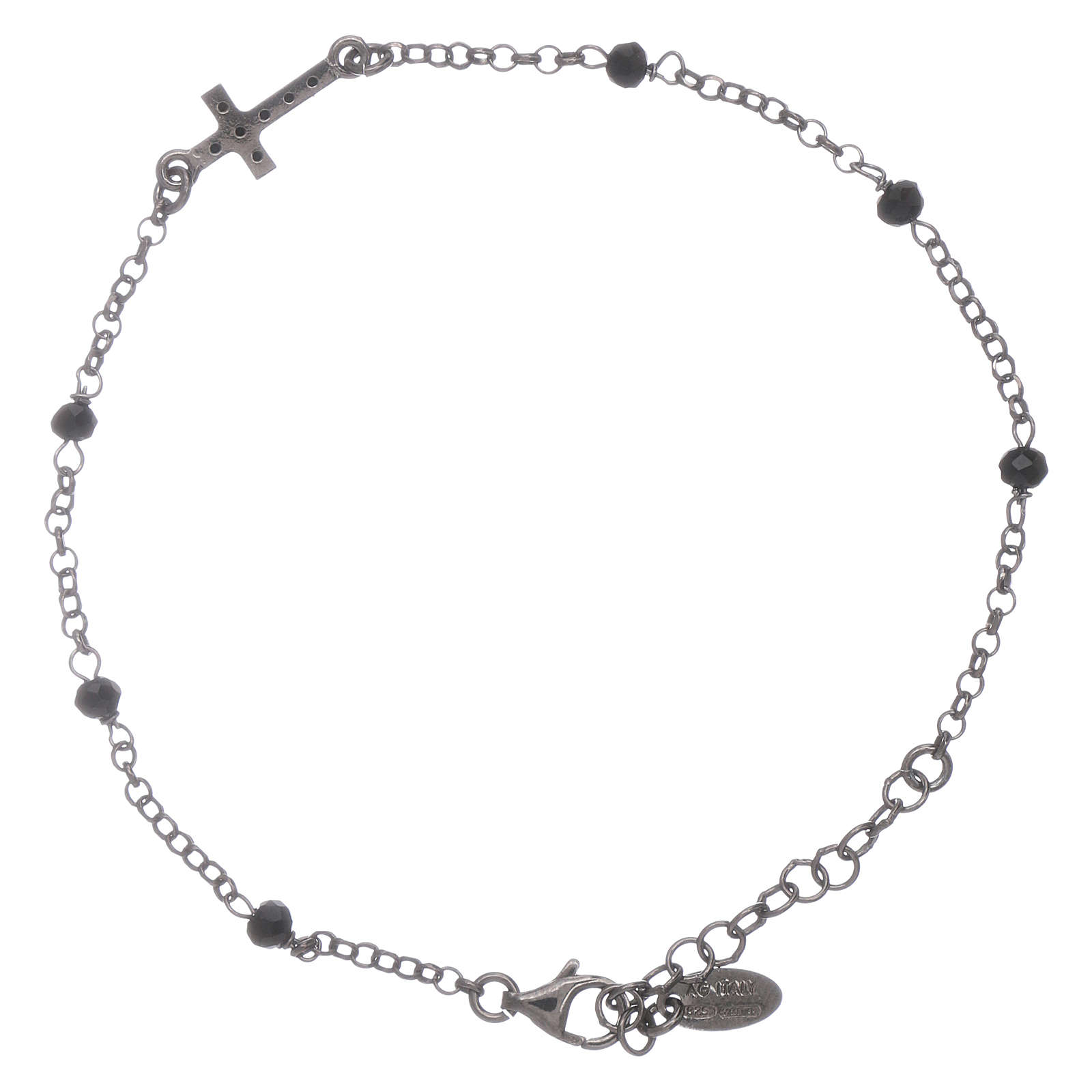 AMEN 925 sterling silver bracelet finished in rhodium with a zirconate cross and black crystals 4