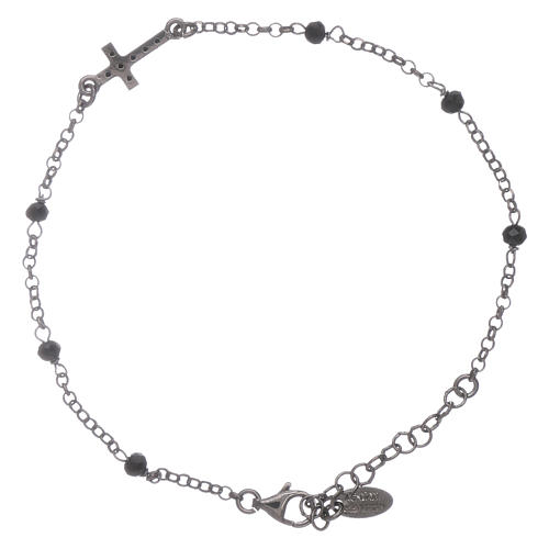 AMEN 925 sterling silver bracelet finished in rhodium with a zirconate cross and black crystals 2