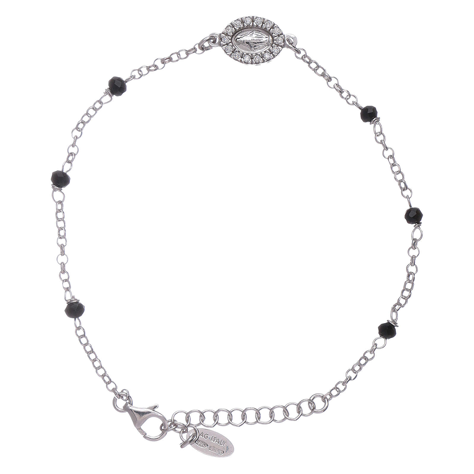 AMEN 925 sterling silver bracelet with black crystals and zirconate Miraculous Virgin Mary insert 4