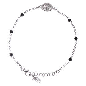AMEN 925 sterling silver bracelet with black crystals and zirconate Miraculous Virgin Mary insert s2