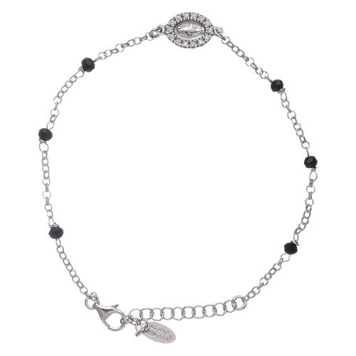 AMEN 925 sterling silver bracelet with black crystals and zirconate Miraculous Virgin Mary insert 1
