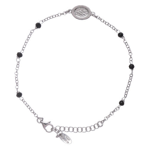 AMEN 925 sterling silver bracelet with black crystals and zirconate Miraculous Virgin Mary insert 2