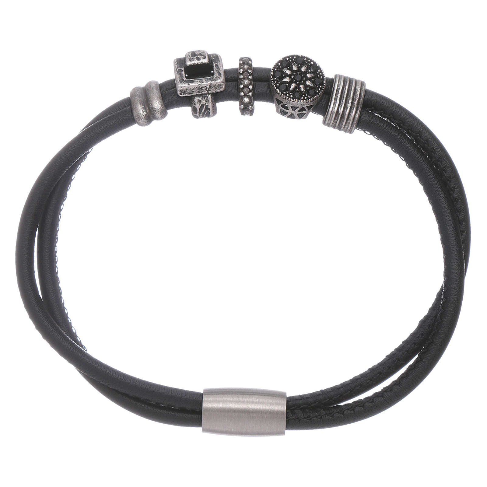 AMEN leather bracelet with black zircon charms 4