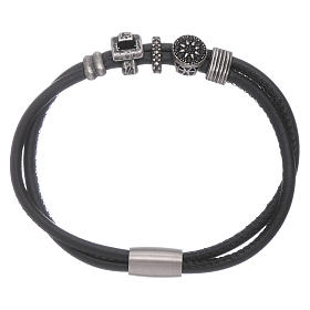 AMEN leather bracelet with black zircon charms s1