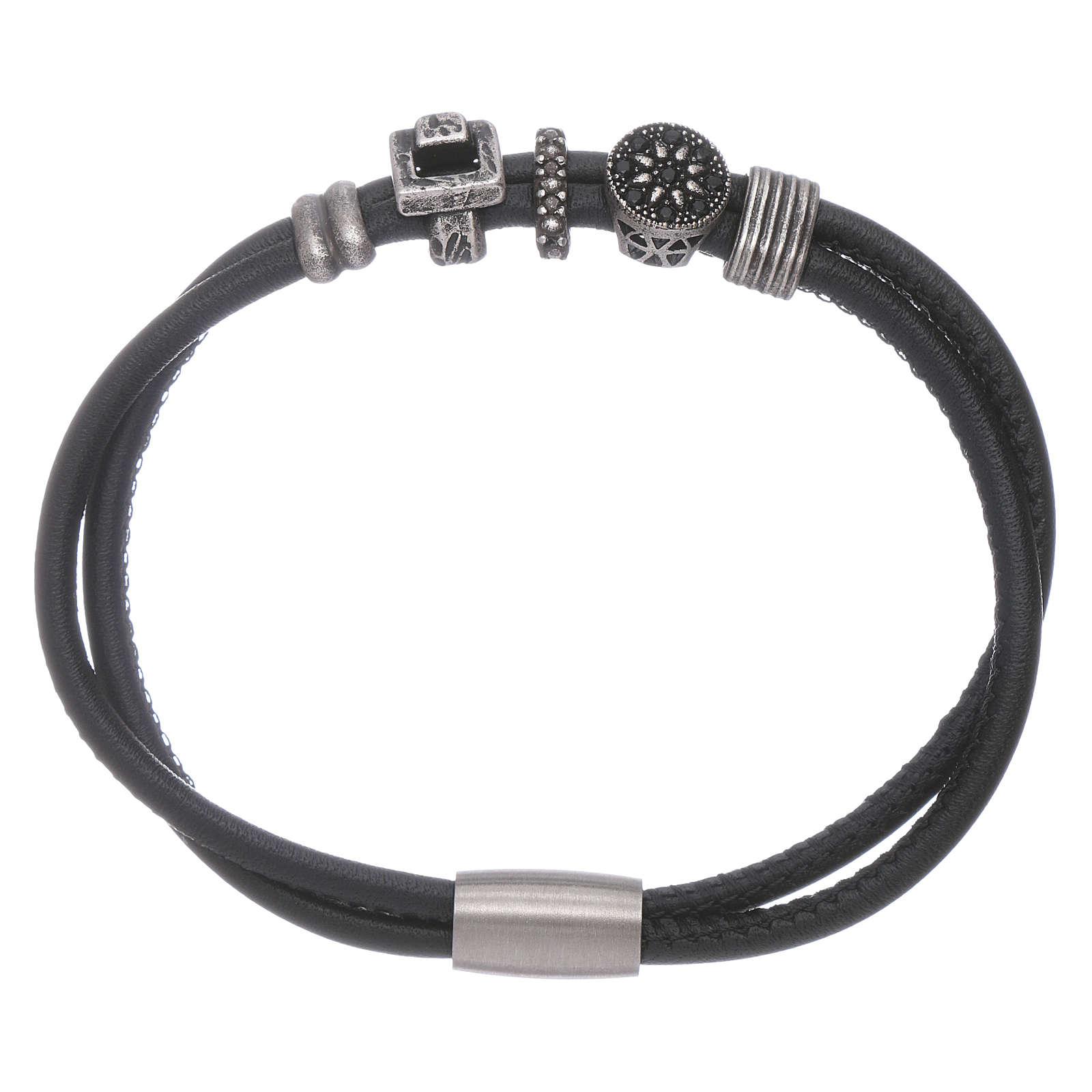 Bracelet AMEN perles à glisser zircons noirs cuir 4