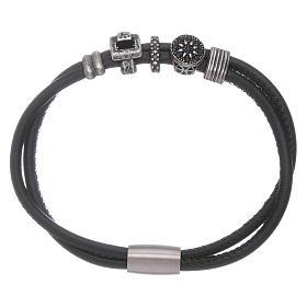 Bracelet AMEN perles à glisser zircons noirs cuir s1