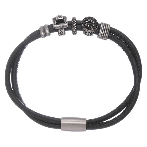 Bracelet AMEN perles à glisser zircons noirs cuir 1