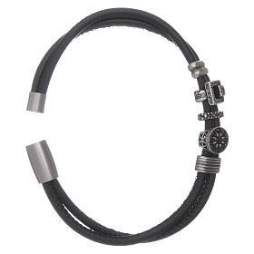 AMEN leather bracelet with black zircon charms s3