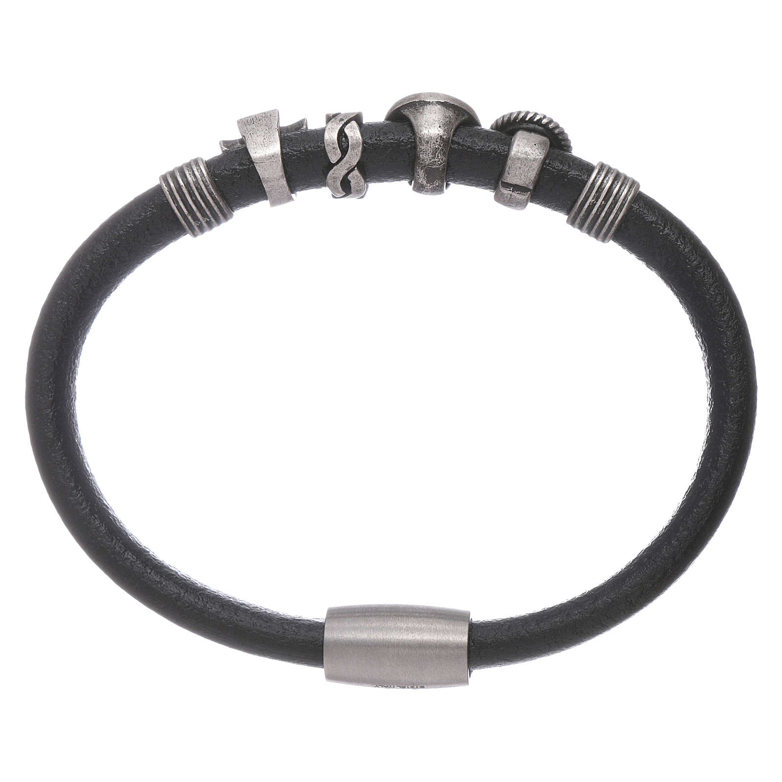 AMEN black leather bracelet with black zircon charms 4