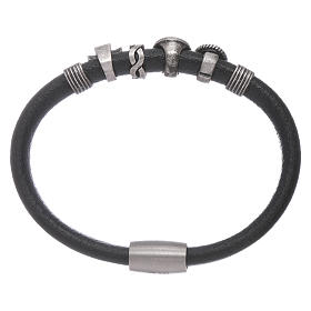 AMEN black leather bracelet with black zircon charms s2