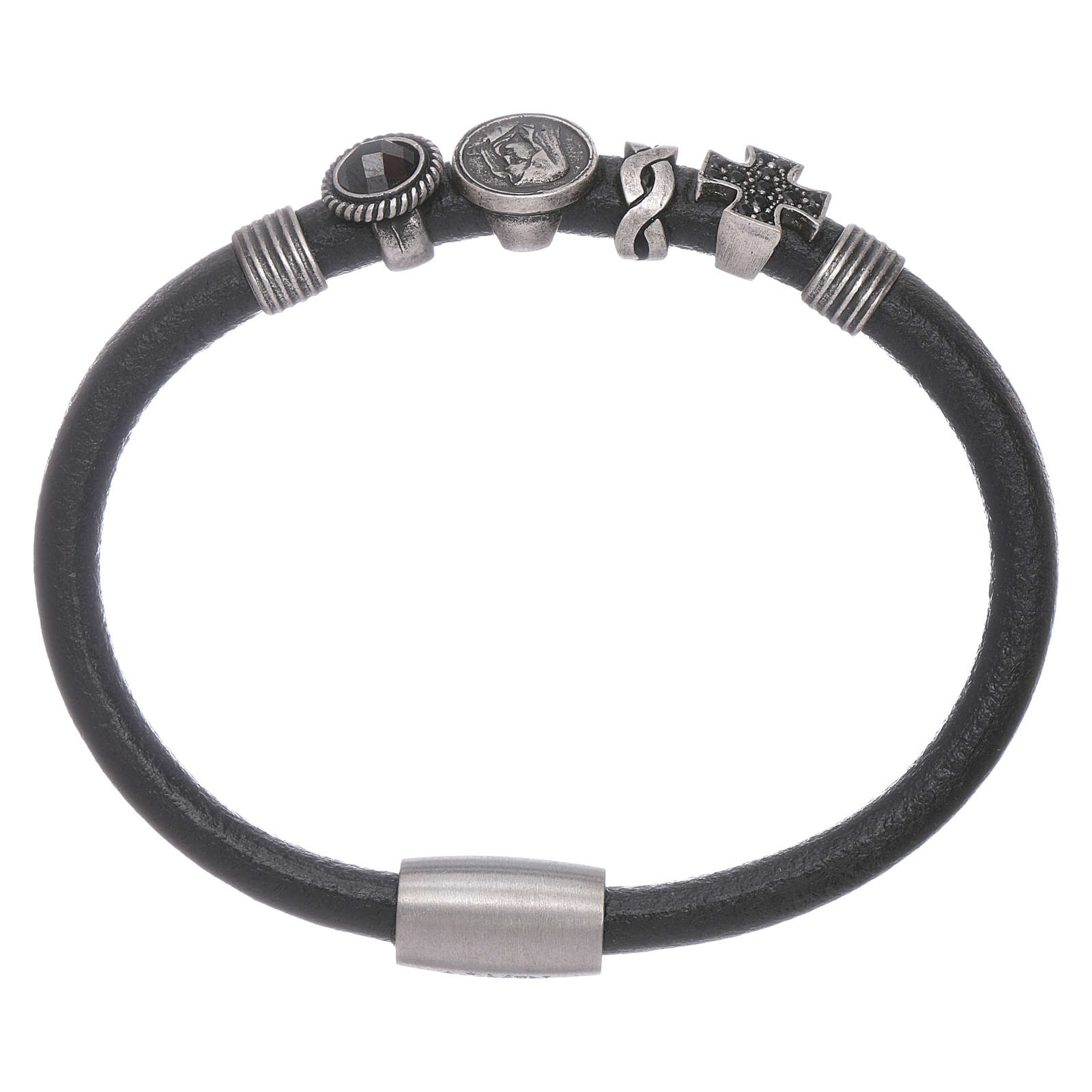 AMEN black leather bracelet with black zircon charms 4