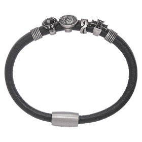 AMEN bracelets: AMEN black leather bracelet with black zircon charms