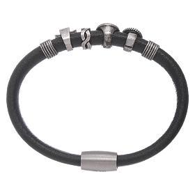 AMEN black leather bracelet with black zircon charms s2