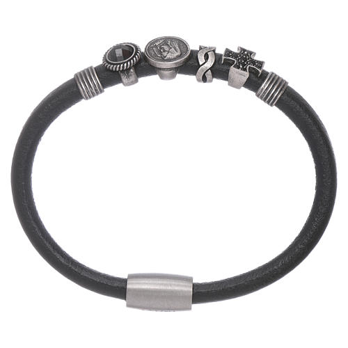 AMEN black leather bracelet with black zircon charms 1