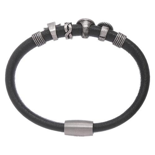 AMEN black leather bracelet with black zircon charms 2