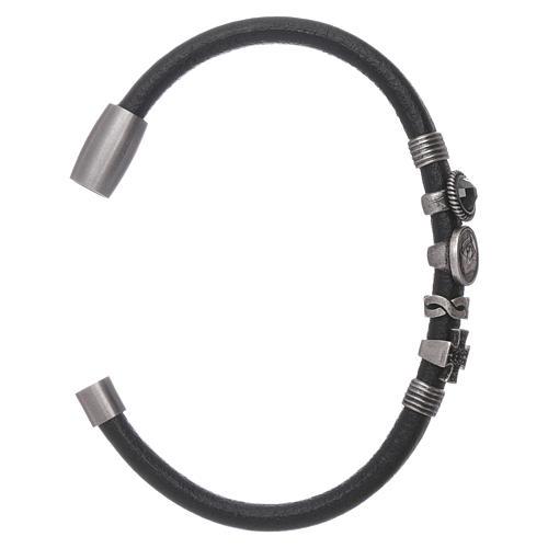 AMEN black leather bracelet with black zircon charms 3