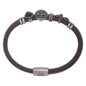 AMEN bracelets: AMEN brown leather bracelet with black zircons