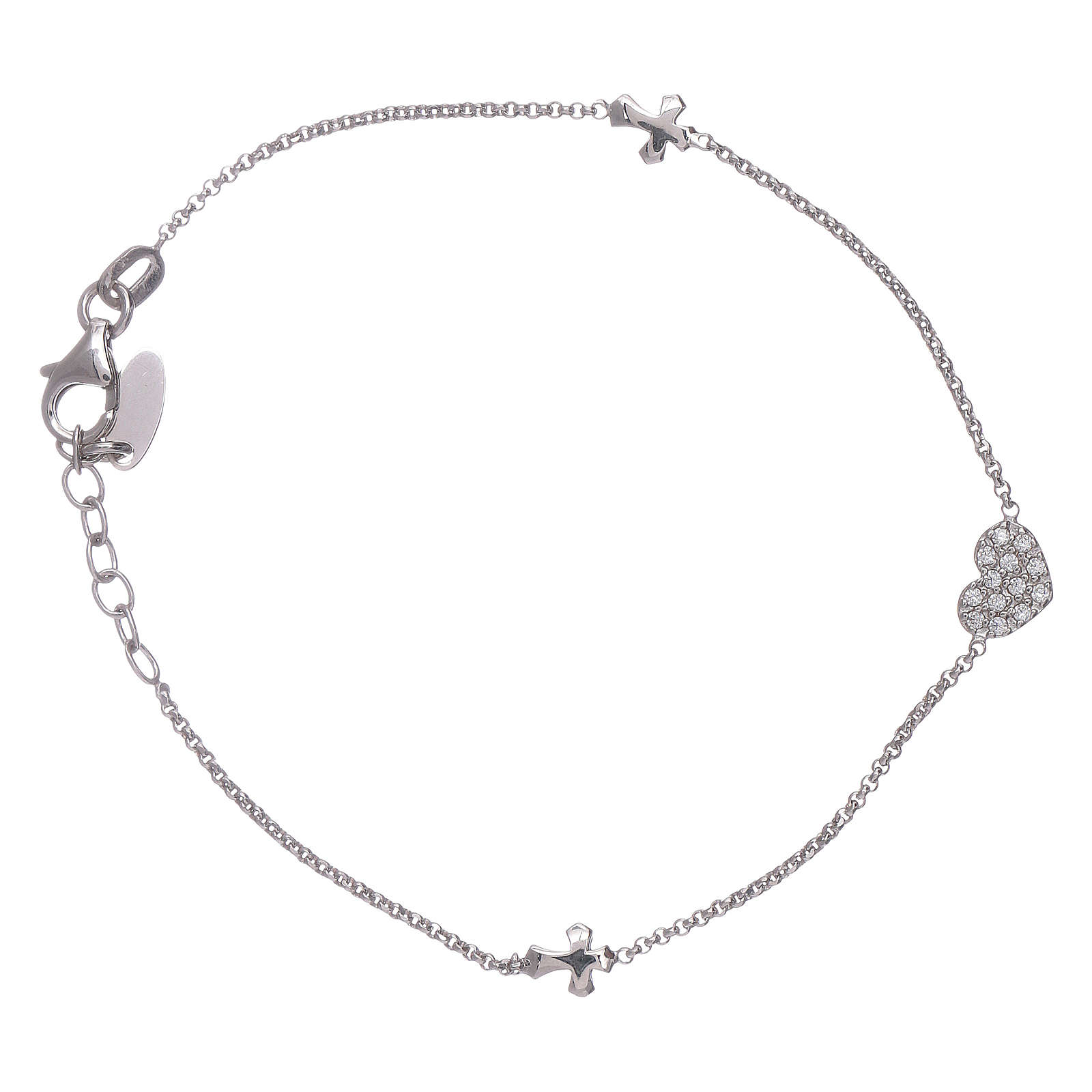 AMEN 925 sterling silver bracelet with a zirconate heart and crosses 4