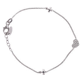 AMEN 925 sterling silver bracelet with a zirconate heart and crosses s1