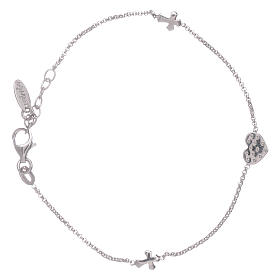 AMEN 925 sterling silver bracelet with a zirconate heart and crosses s2