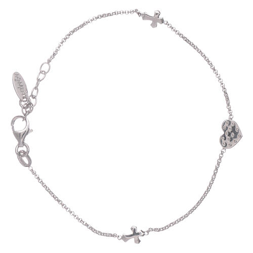 AMEN 925 sterling silver bracelet with a zirconate heart and crosses 2