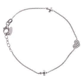 Branzolety AMEN: Branosletka AMEN srebro 925 serce z cyrkoniami i krzyżyki