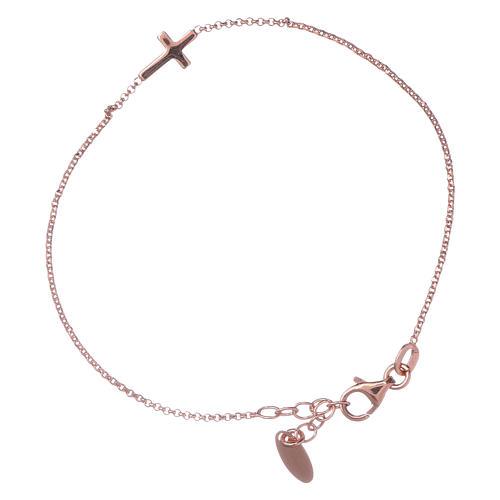 Pulsera con cruz AMEN plata 925 rosada 1