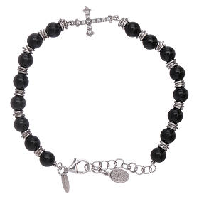 AMEN bracelets: AMEN 925 sterling silver and onyx bracelet with a zircon cross