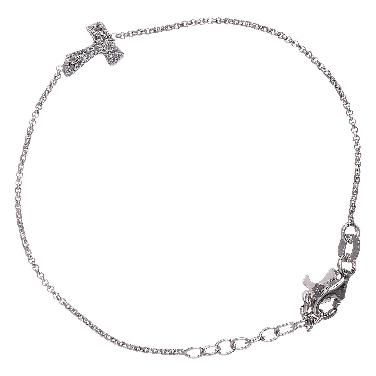 Bracciale AMEN croce zirconata Tau arg 925 4