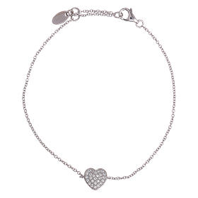 AMEN bracelets: AMEN  925 sterling silver bracelet with a rhodium heart and zircons