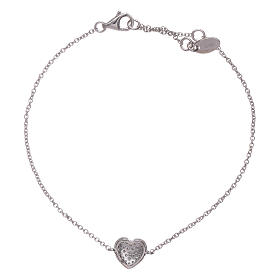 AMEN  925 sterling silver bracelet with a rhodium heart and zircons s2