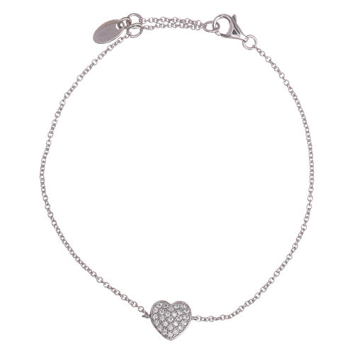 AMEN  925 sterling silver bracelet with a rhodium heart and zircons 1