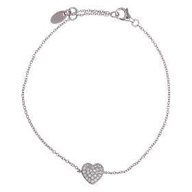 AMEN bracelets: AMEN  925 sterling silver bracelet with a rhodium heart and zircons