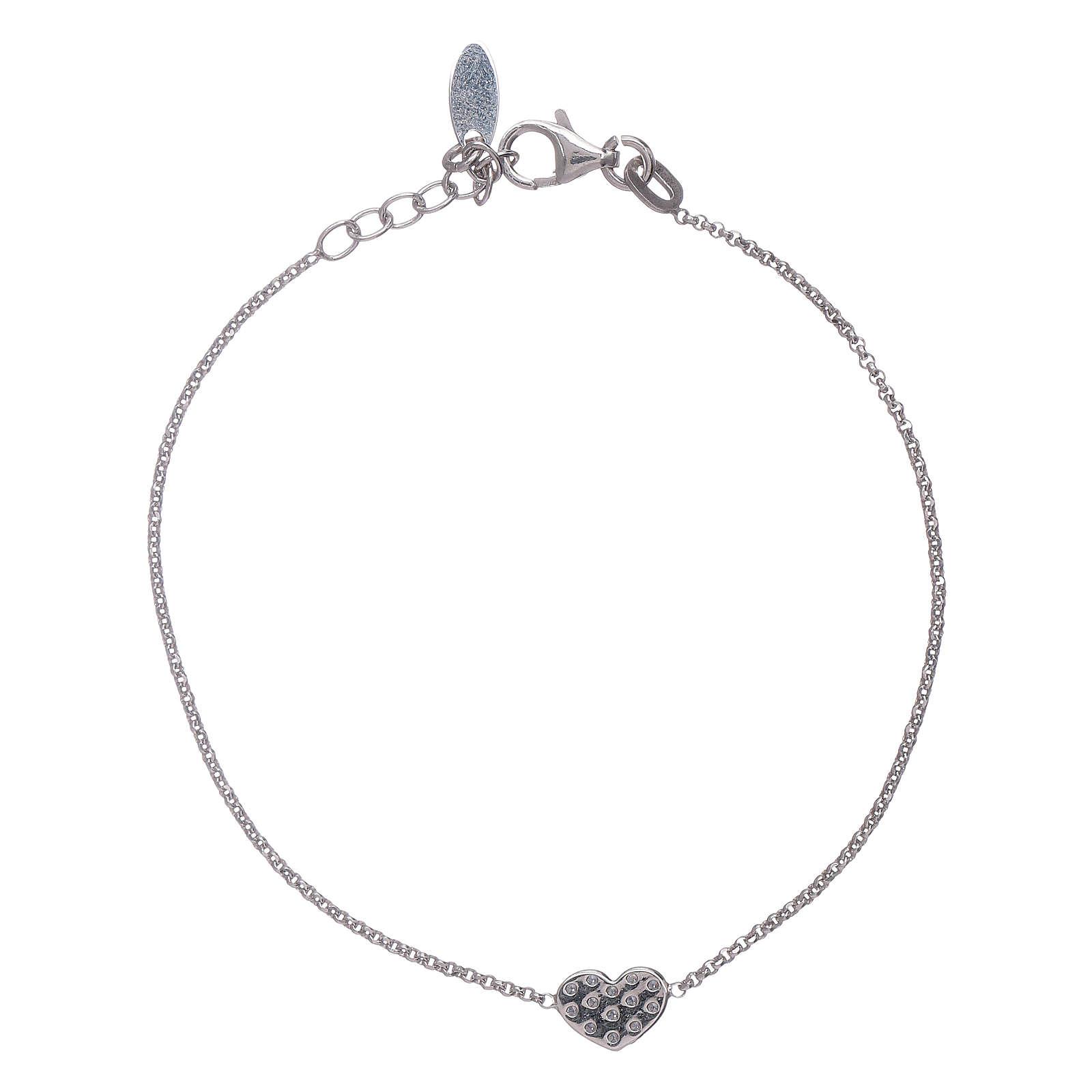 0b65a650459 Bracelet coeur rhodié de zircons AMEN argent 925 4