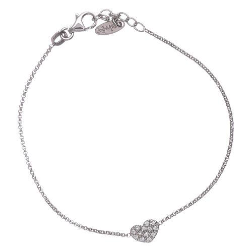355ab2ed638 Bracelet coeur rhodié de zircons AMEN argent 925 1